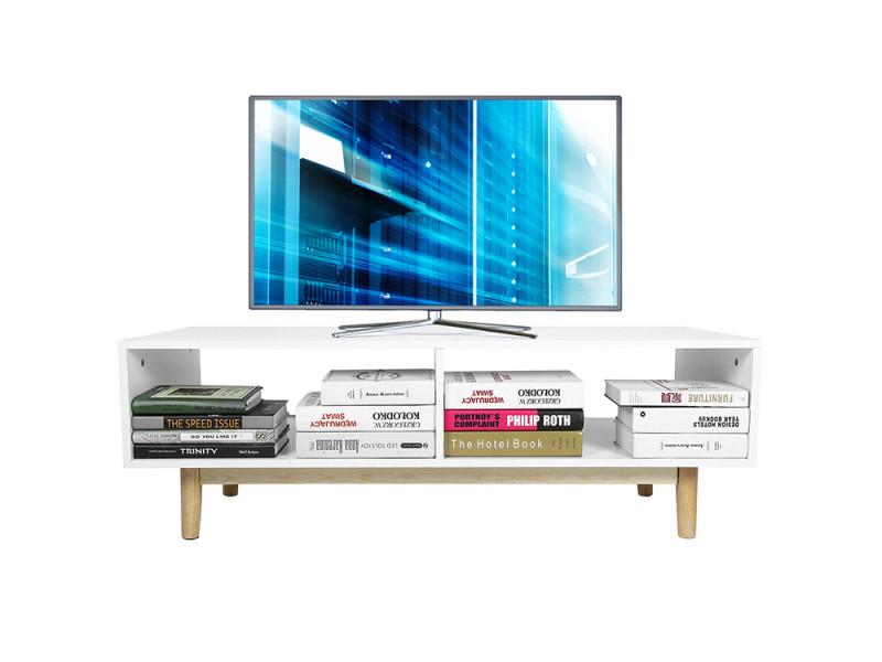 Meuble tv blanc mat style scandinave 120 cm