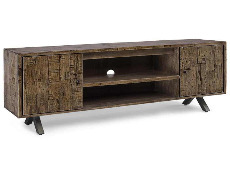 Meuble tv en bois recyclé coloris marron - l.180 x p.40 x h.60 cm - pegane-