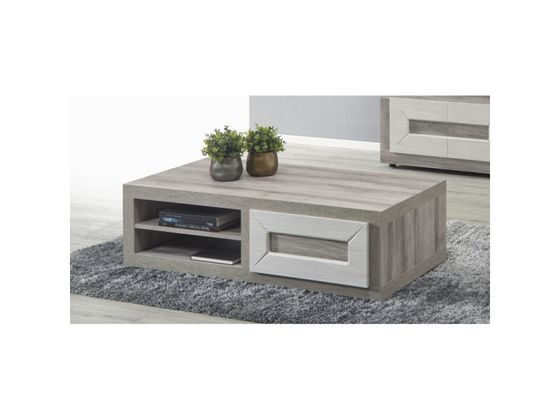 Table basse moderne chêne clair romain