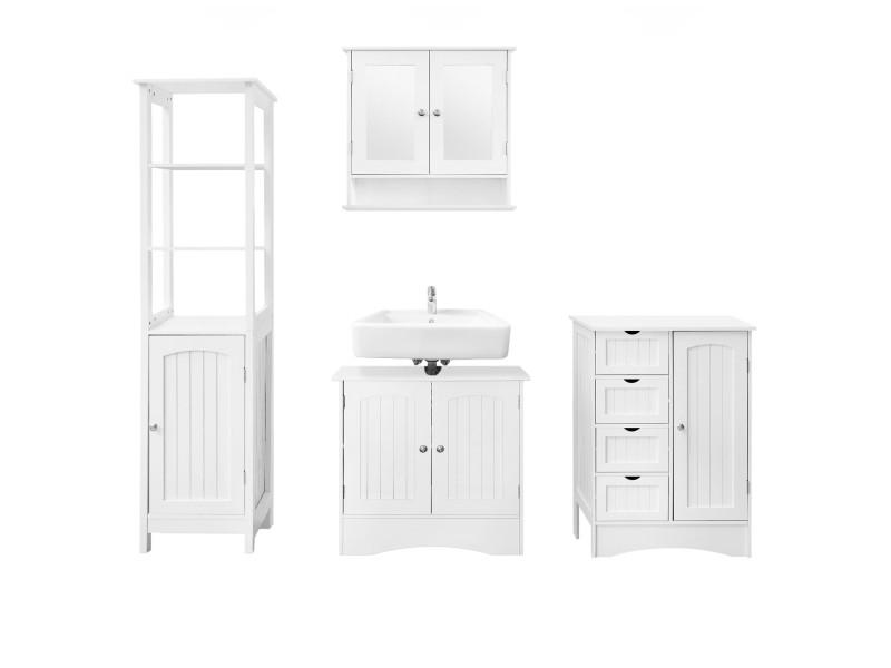 Ml-design set de 4 meubles de salle de bain blanc, en panneaux de particules mdf 490004801
