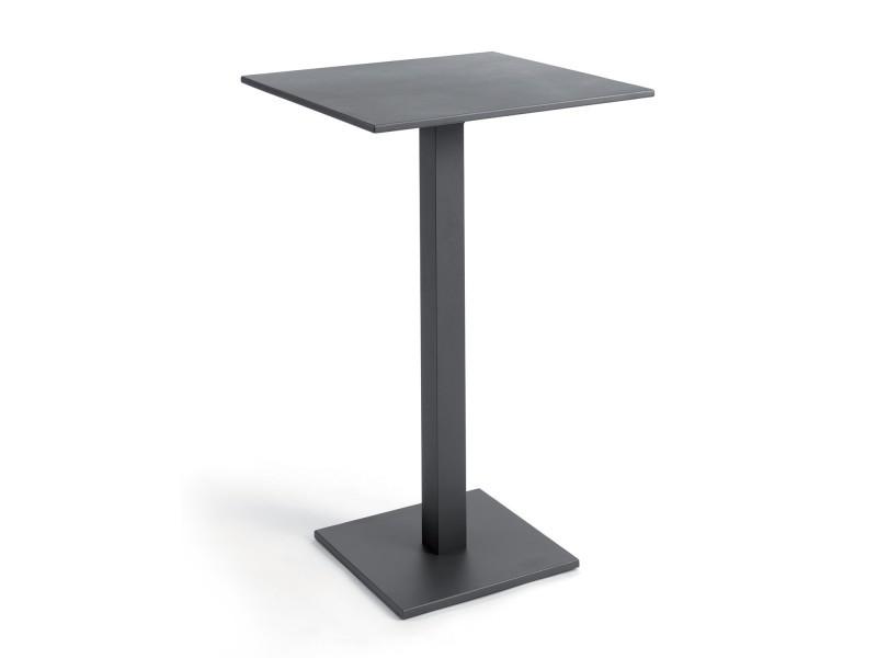 Table haute pliante carrée 70 cm alu anthracite otrante