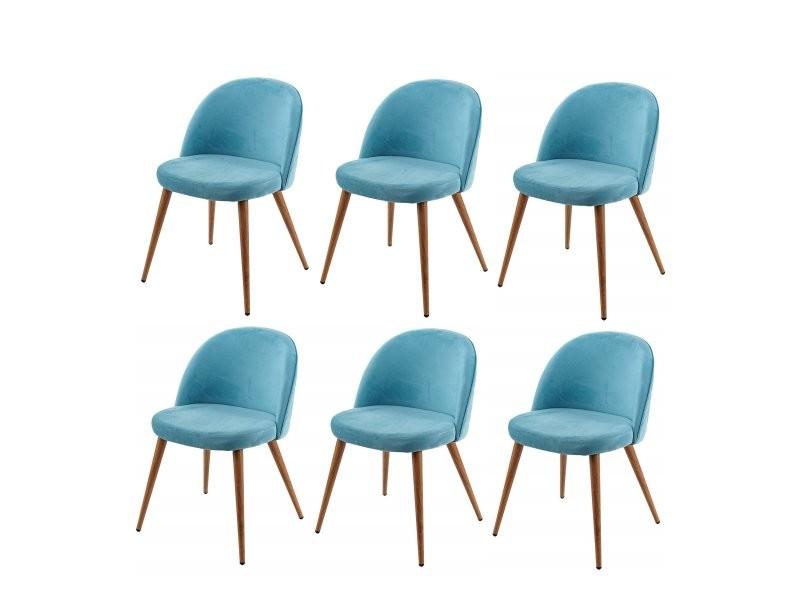 Lot De 6 Chaises De Salle A Manger Tissu Velours Bleu En Bois Style