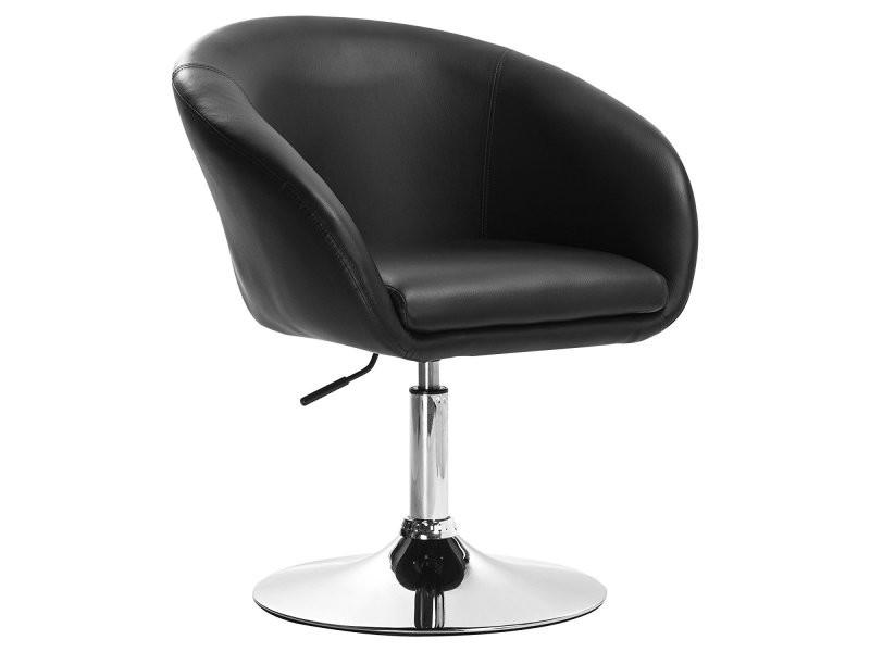 Chaise Design Siège Lounge Pivotant Réglable Fauteuil Noir Hauteur WEDH2I9