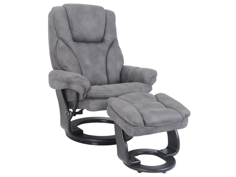 Fauteuil relax gama + pouf micro anthracite