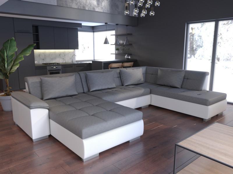 Canapé d'angle panoramique convertible lemon gris et blanc tendencio