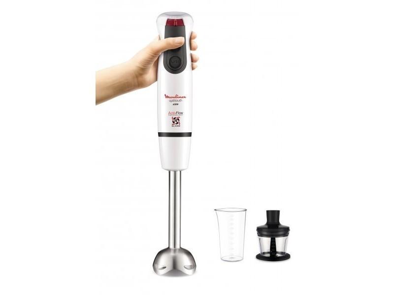 Moulinex mixeur plongeant optitouch blanc pied métal, mini