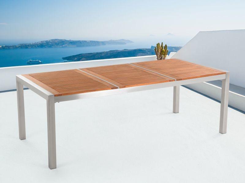Table de jardin en bois acajou 220 x 100 cm grosseto 77753 - Vente ...