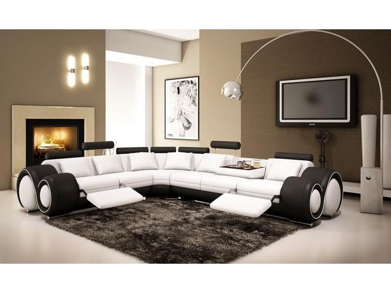 Canapé d'angle cuir blanc et noir + positions relax oslo (gauche)-