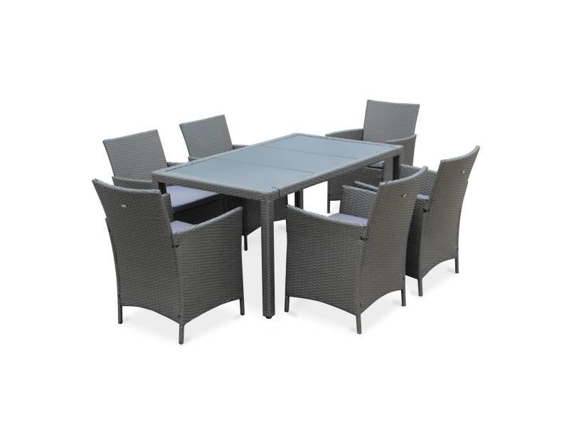 Salon de jardin tavola 6 gris en résine tressée, table d ...