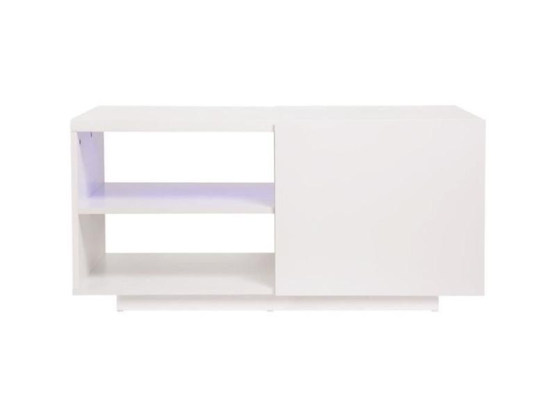 Table basse 1 porte avec luminaire led inclus - lux HT20C110