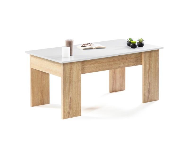 Table Basse Avec Plateau Relevable Bois Blanc Et Imitation Hetre