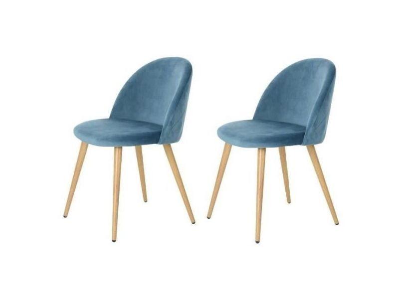 décor chaises velours zomba de pieds Chaise 2 en lot bleu UzLqSVpMG