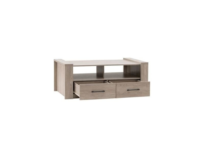 Table basse ernest table basse style contemporain décor chene grisé - l 130 x l 65 cm