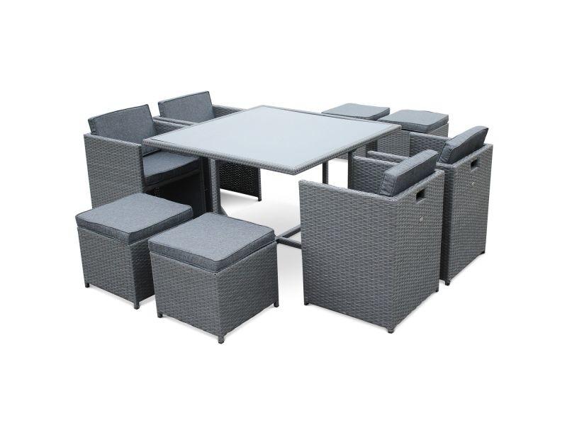 Salon de jardin vasto gris table en résine tressée 4 à 8 places ...