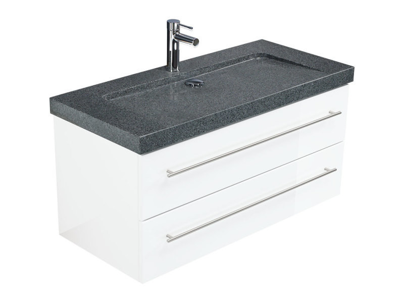 Meuble sdb damo blanc brillant avec simple vasque en granit ...