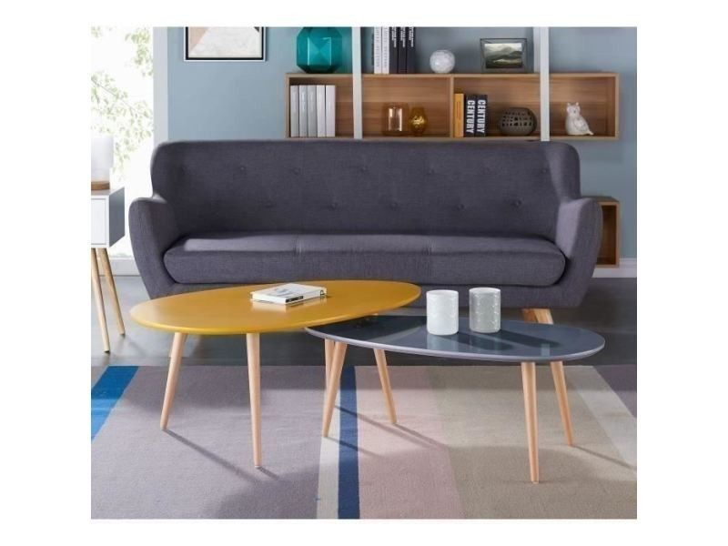 Table basse stone table basse ovale scandinave jaune moutarde laqué ...