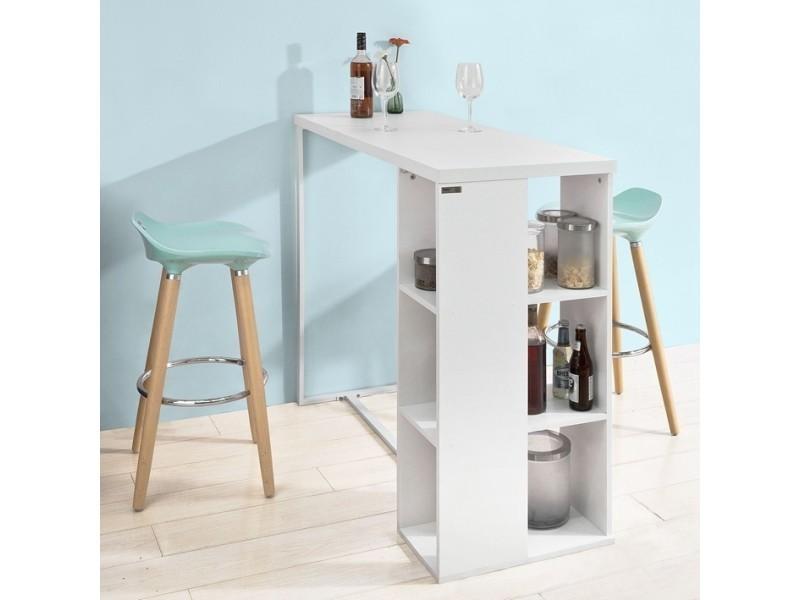 Table haute de bar mange-debout cuisine avec 3 étagères de ...
