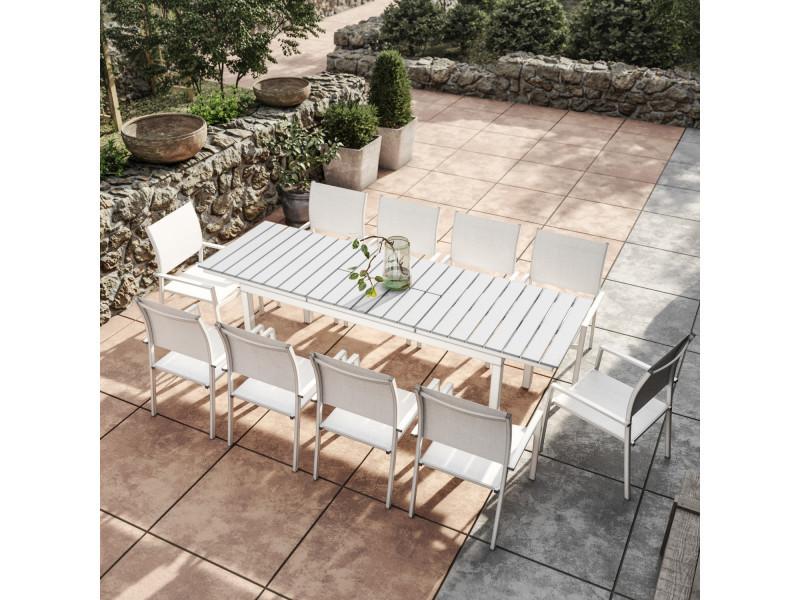 Table De Jardin Extensible Aluminium 180 240cm Blanc Gris