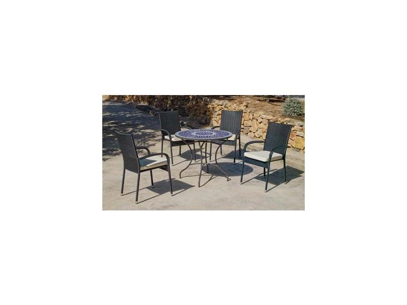 Ensemble salon table rodano90 + 4 fauteuil(s) a manger ampurias3 ...