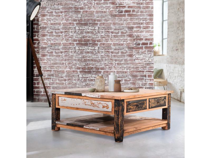 Table basse carrée en teck massif milena - couleur naturel