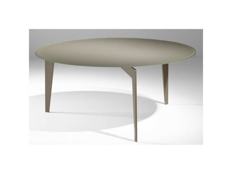 Table basse ronde miky en verre taupe 20100847188