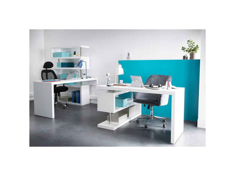 Bureau design noir laqué modulable max vente de bureau conforama