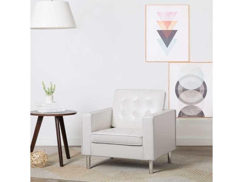Distingué fauteuils famille maputo fauteuil revêtement de simili-cuir 75 x 70 x 75 cm blanc