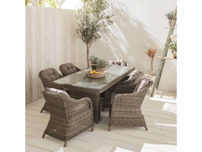 Table de jardin 6 places en résine tressée arrondie - lecco ...