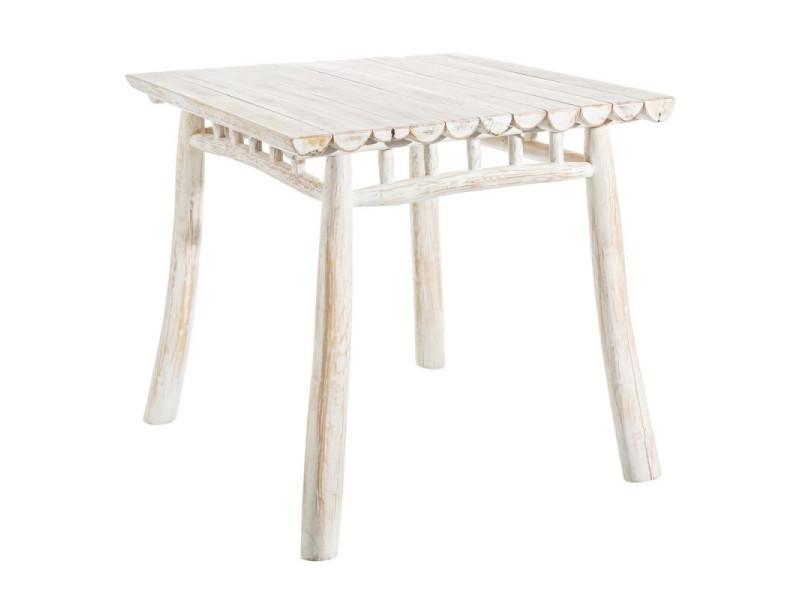 Table de repas carrée bois blanc - pyla - l 80 x l 80 x h 75 - neuf