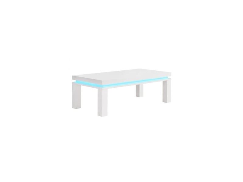 Table Basse Led Conforama.Flash Table Basse Avec Led Bleu 120x60 Cm Laque Blanc
