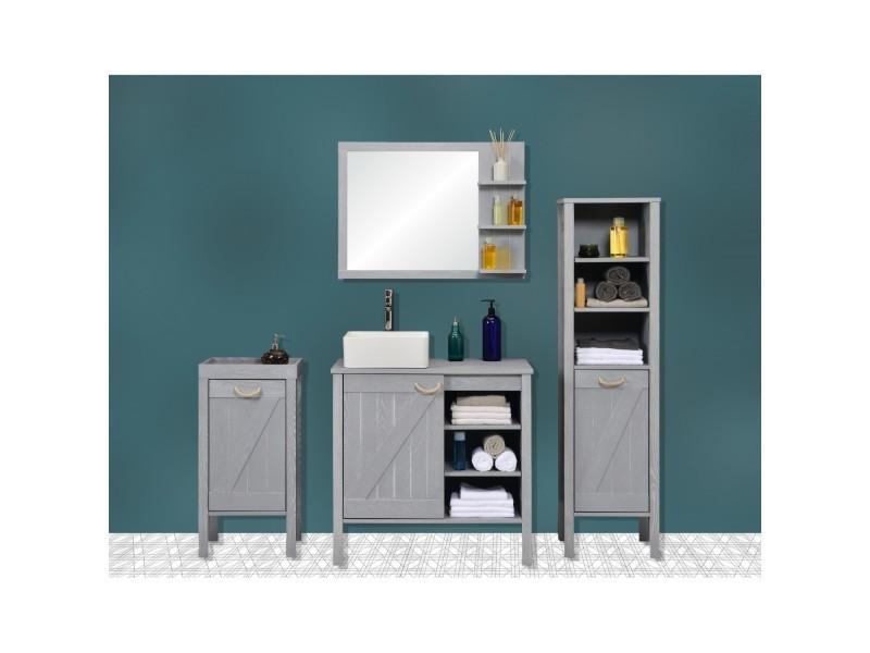 Meuble salle de bain bois gris patiné 85 cm marina - Vente ...