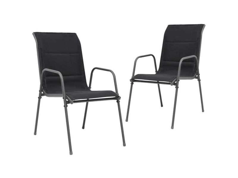 Vidaxl chaises empilables de jardin 2 pcs acier et textilène noir