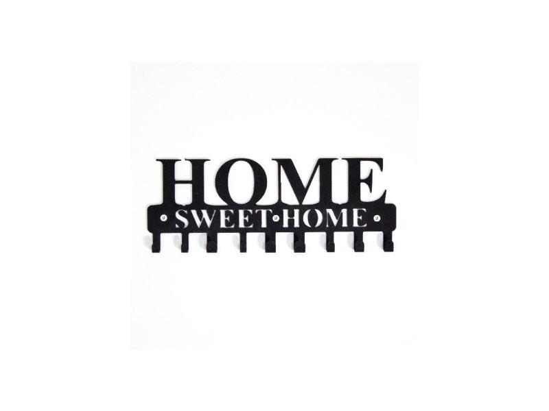 Homemania porte-manteau doux foyer - phrases - avec crochets - décoration murale, art mural, mur - entrée, couloir - noir en métal, 29 x 2 x 13 cm