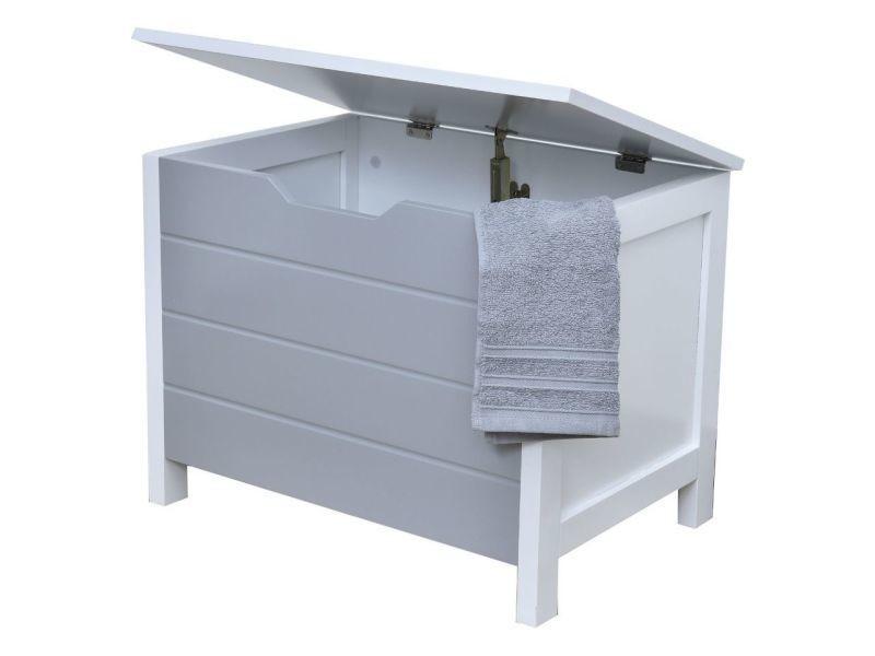 Meuble bas coffre de rangement salle de bain gris et blanc - Coffre de salle de bain ...