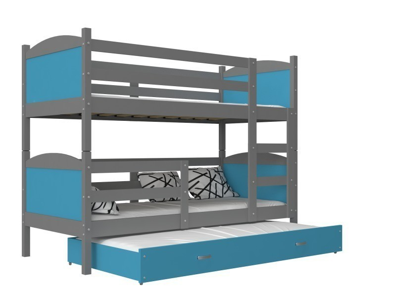 lit superposé 3 places mateo 190x90 gris bleu livré avec