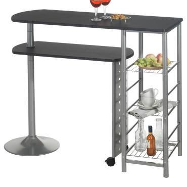 Table haute de bar josua mange-debout comptoir et tablette mobile en mdf noir, 3 étagères et piètement métal laqué couleur aluminium