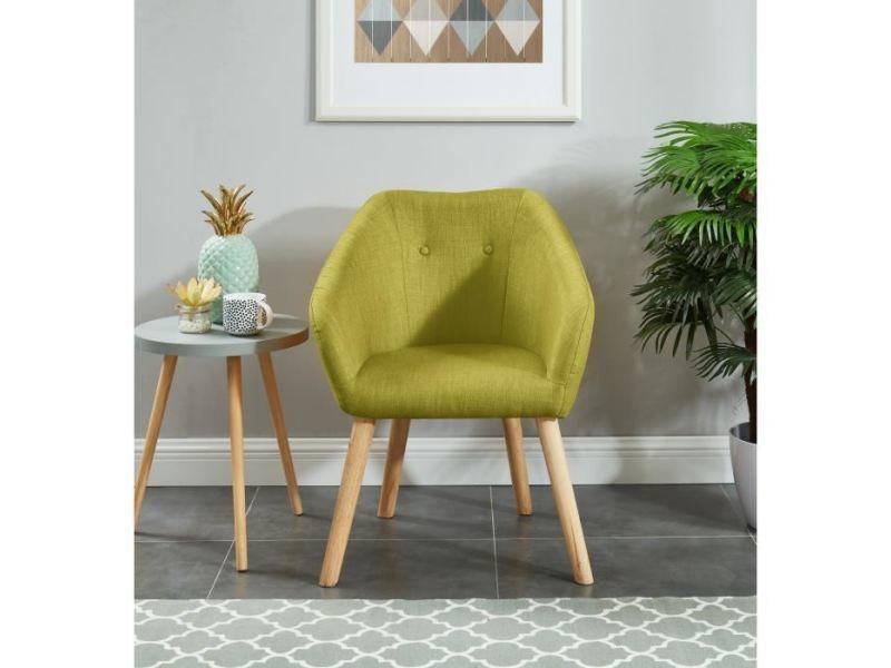 Fauteuil hilda fauteuil - tissu vert - scandinave - l 62 x p 60 cm