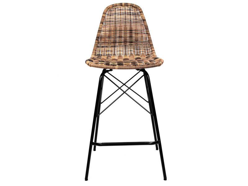 Chaise de bar tiptur en r sine tress e naturelle 63 cm - Tabouret de bar en resine tressee ...