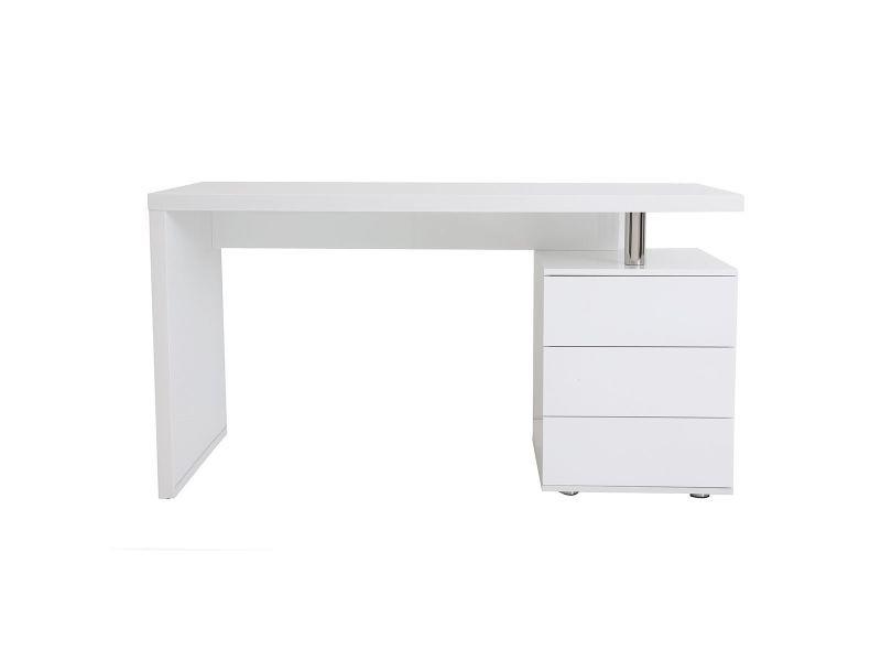 Pluton - Bureau d\'angle en bois laqué blanc