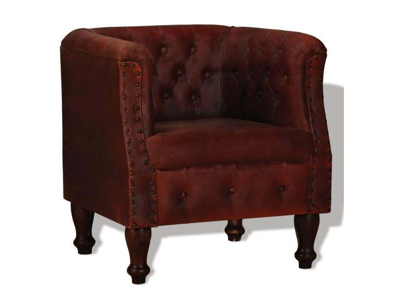 244227 Vidaxl fauteuil marron Vente de cuir véritable wuOPZXTki