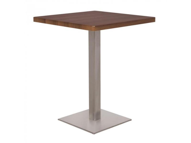 Table De Bar Table Bistrot En Mdf Aspect Bois De Noyer