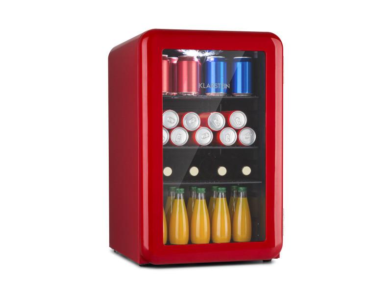 Klarstein poplife - réfrigérateur à boissons 70 litres, double porte vitrée , classe a+ - design rétro rouge