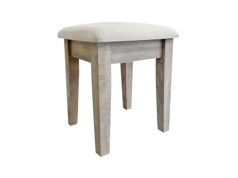 Mobili rebecca tabouret coussin rembourre bois blanc tissu creme argent 50x43x30