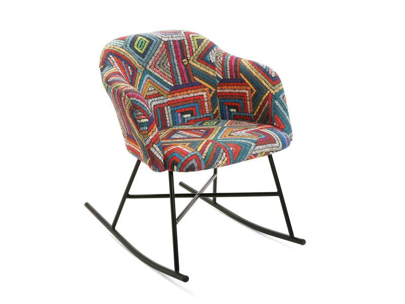 Fauteuil à bascule multicolore motif ethnique - l 66 x l 80 x h 73 cm -pegane-