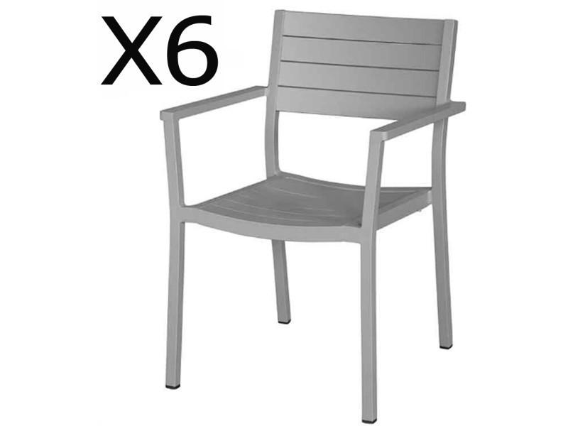 Lot de 6 fauteuils de jardin empilables en aluminium coloris gris -pegane-