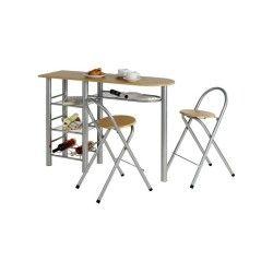 Ensemble style avec table haute de bar mange-debout comptoir et 2 chaises/tabourets, table et assise en mdf couleur hêtre