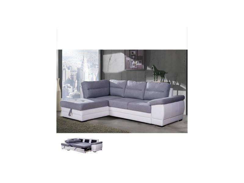 Canapé d'angle convertible à gauche avec coffre gris et pvc blanc - wesley