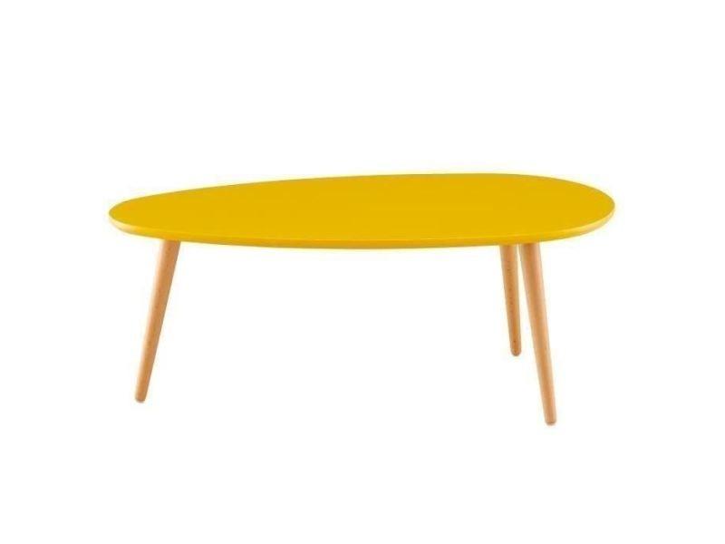 Table basse stone table basse ovale scandinave jaune moutarde laqué - l 88 x l 48 cm