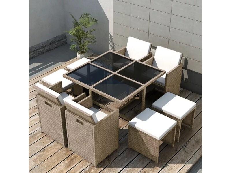 Vidaxl jeu de mobilier d\'extérieur 21 pcs gris/beige résine ...