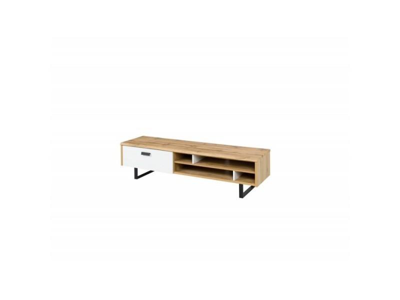 Meuble tv design oak petit modèle. Idéal pour votre salon. Look moderne et tendance type industriel, bois et métal.